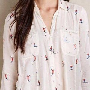 Anthropologie Maeve Larkin Skier Print Shirt